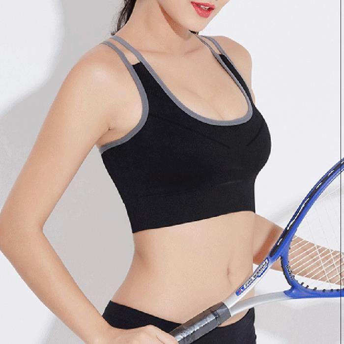 Soutien-gorge de sport - Grise M, Brassière de fitness - Femme, sous-vêtements de sport de course à pied de yoga à séchage rapide