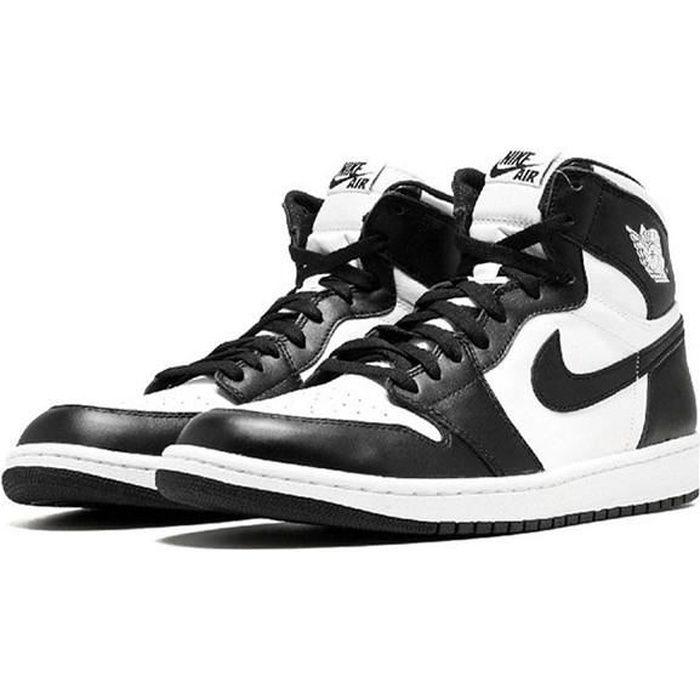 Airs Jordans 1 Retro Black White 555088-010 Chaussures de Running pour Homme Femme Noir Blanc