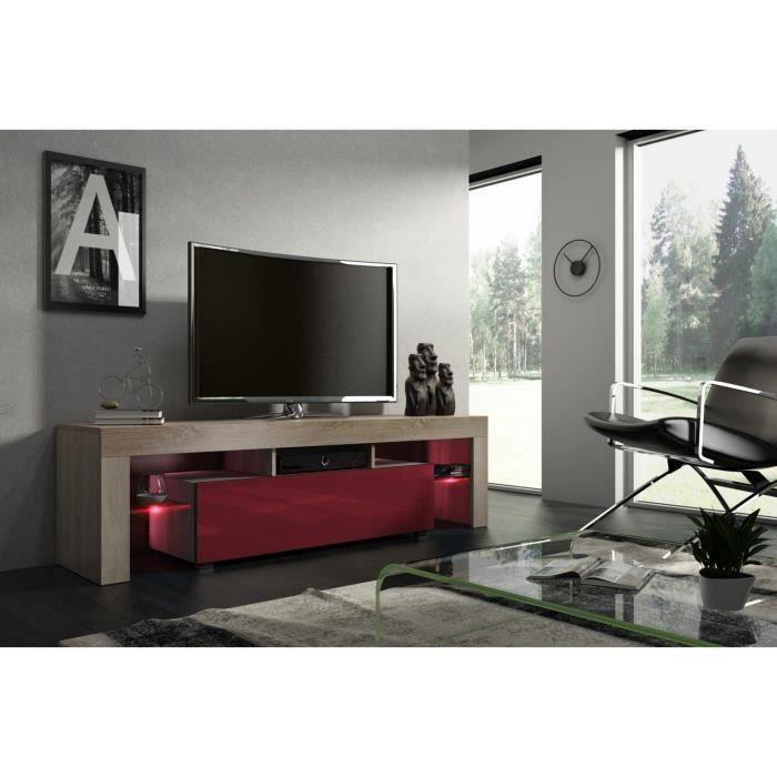Meuble tv 160 cm chêne MDF et bordeaux laqué avec led
