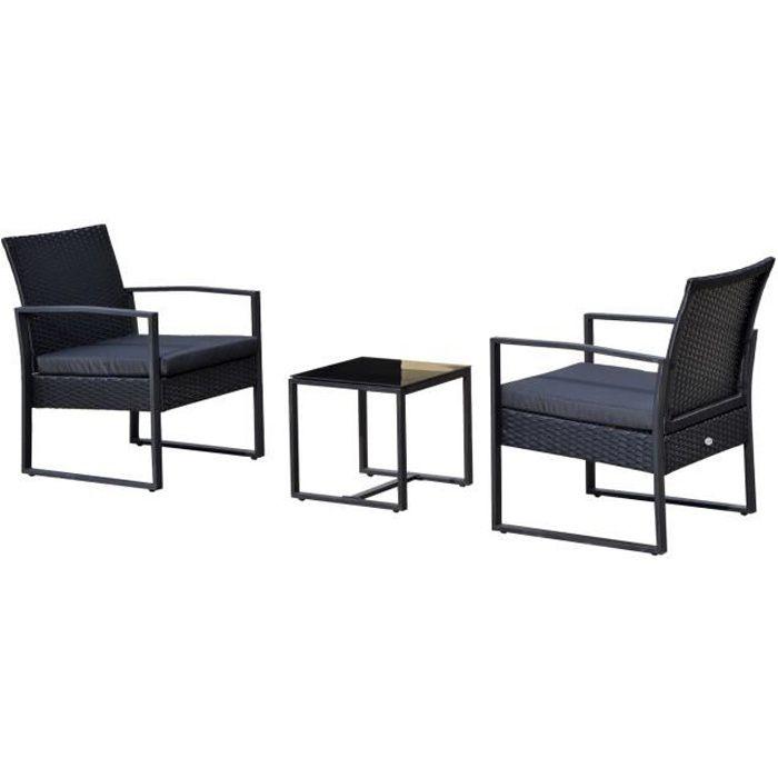Salon de jardin 2 places 3 pièces 2 chaises avec coussins + table basse plateau verre trempé résine tressée 4 fils imitation rotin