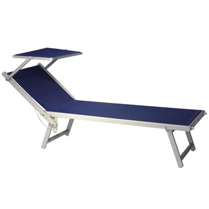 Transat - bain de soleil en aluminium et textilène coloris bleu - 194 x 66 x 39 cm