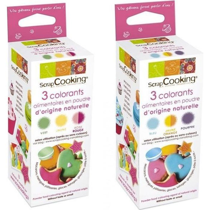 ScrapCooking - Colorants alimentaires naturels rouge, jaune, vert, orange, bleu, violet