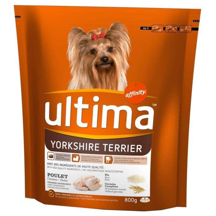 Ultima Croquettes Yorkshire Terrier Chiens Poulet Riz Céréales Complètes Format 800g (lot de 3)