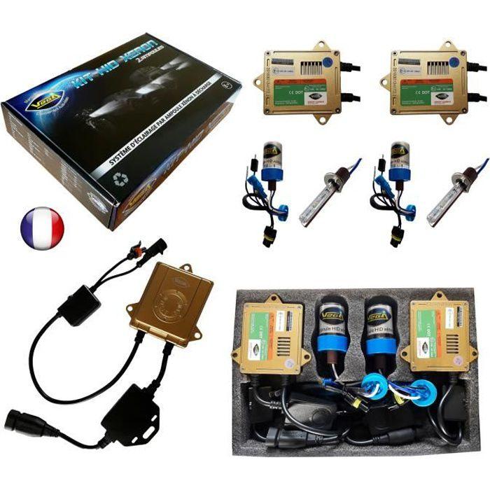 Kit HID Xénon Marque FRANCAISE Vega® H1 10000K 55W Canbus anti erreur ODB Conception ASIC ampoules à embase métallique