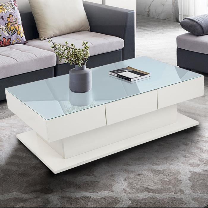 VINGVO-Table basse blanche moderne Table d'appoint en verre trempé avec tiroirs fournitures ménagères