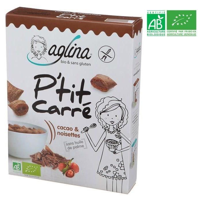 AGLINA Céréales Cacao & noisettes P'tit Carré - Sans gluten - Bio - 300g