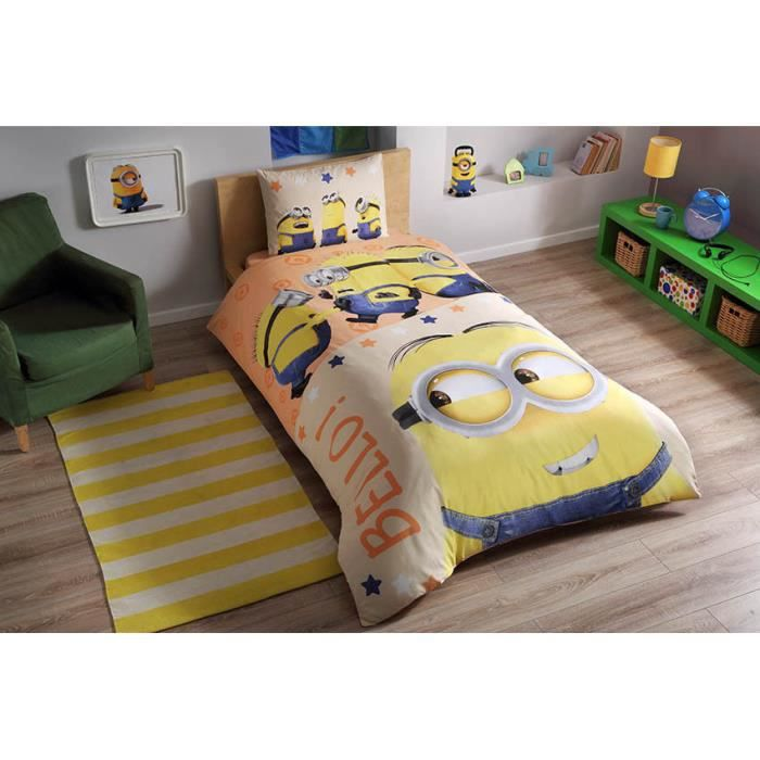 parure de lit les minions 1 personne 100 coton 3 pcs housse de couette 160x220 cm drap. Black Bedroom Furniture Sets. Home Design Ideas