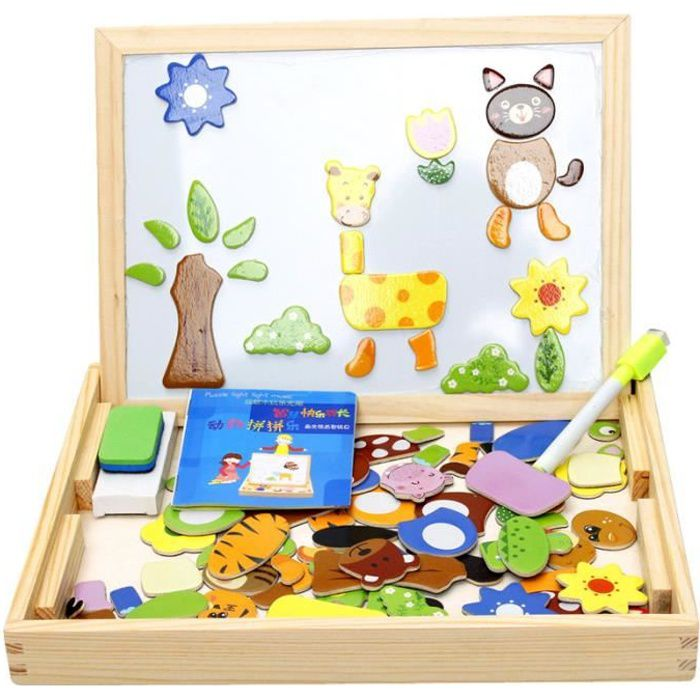 tableau d enfant magn tique puzzles en bois color animaux jouet ducatif cadeau pour enfant. Black Bedroom Furniture Sets. Home Design Ideas