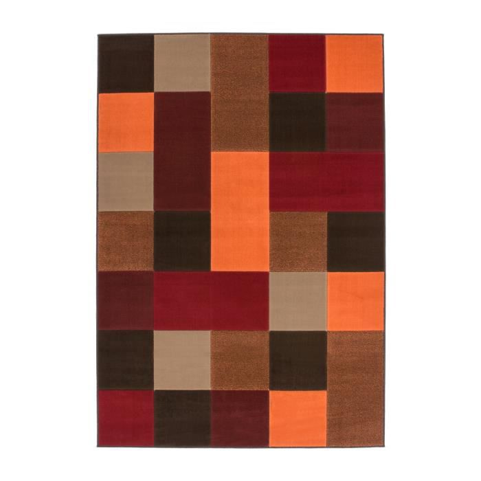 tapis de salon dessin carreau moderne 10 mm rouge marron orange 80x150 cm achat vente tapis. Black Bedroom Furniture Sets. Home Design Ideas