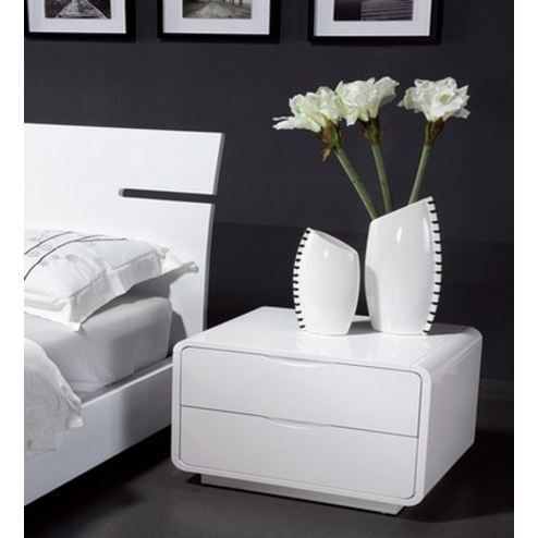 table de chevet design blanche n 19 achat vente. Black Bedroom Furniture Sets. Home Design Ideas