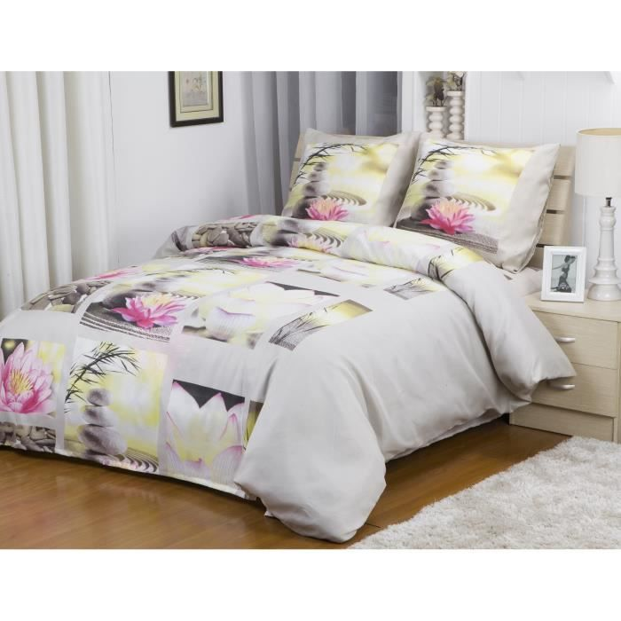 couette 240x260 cm microfibre double face imprim e lotus achat vente couette cdiscount. Black Bedroom Furniture Sets. Home Design Ideas