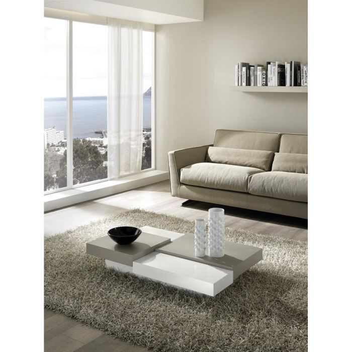 table basse design flat laque blanc et gris t achat. Black Bedroom Furniture Sets. Home Design Ideas