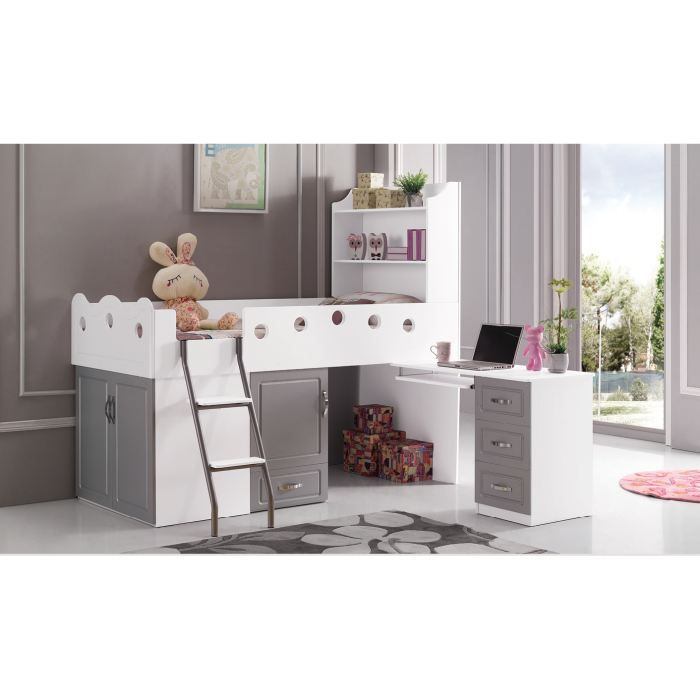 lit enfant multifonction bibi gris et blanc achat. Black Bedroom Furniture Sets. Home Design Ideas