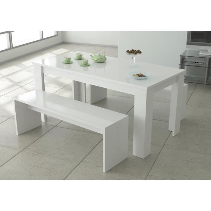 Finlandek ensemble repas laqu blanc 3 pi ces 1 table for Ensemble table a manger
