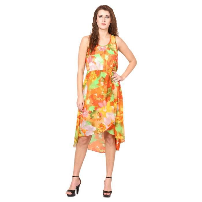 Womens Printed Dress - Georgette Slim Fit 1VE1ZW Taille-34