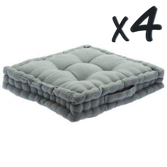 lot de 4 coussins de sol en coton gris 40 x 40 achat vente coussin cdiscount. Black Bedroom Furniture Sets. Home Design Ideas