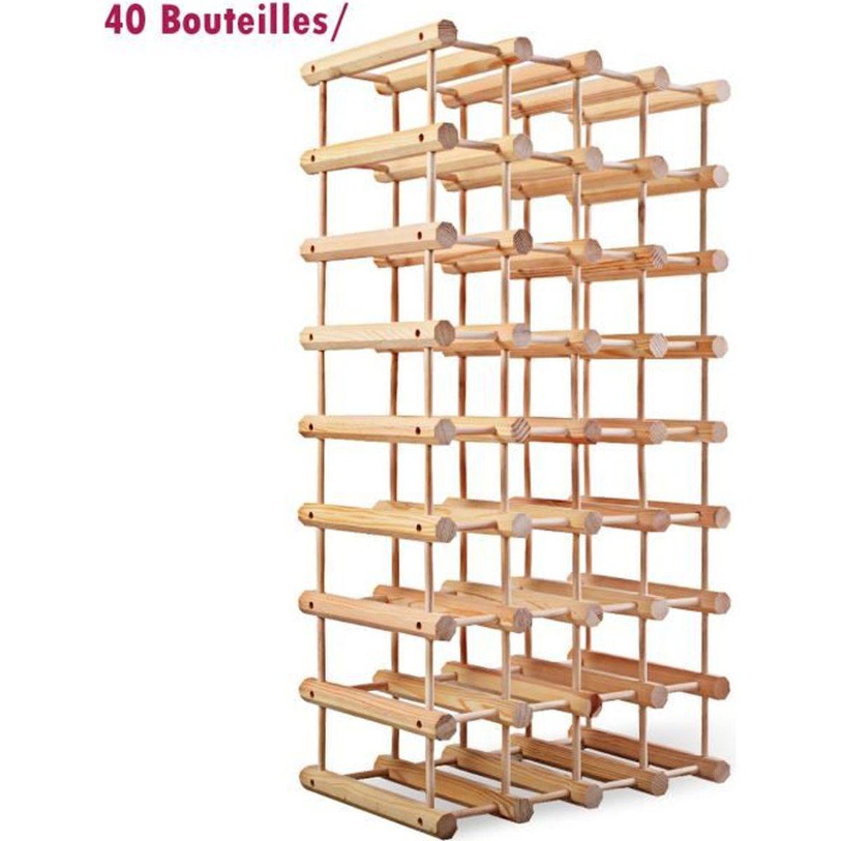 Fabriquer Casier À Bouteilles En Bois casier pour range bouteilles etagère de rangement jusqu'à 40 bouteilles de  vin modulable en bois de pin 33 x 24 x 102.5 cm