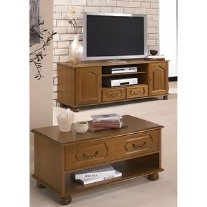 Ensemble meuble tv et table basse ch ne rustique achat for Ensemble meuble tv et table de salon
