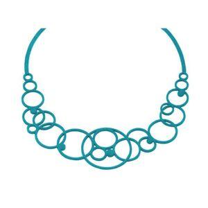 SAUTOIR ET COLLIER Collier Femme Disco Bleu Silicone -   - Blue Pearl