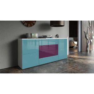 BUFFET - BAHUT  Buffet blanc mat et façade violet  et  turquoise l