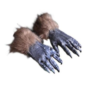 F/ête Halloween Mascarade elegantstunning Gants de Loup-Garou pour Homme Poilu Brun Poilu Poilu Mains de Loup pour Cosplay Spectacle