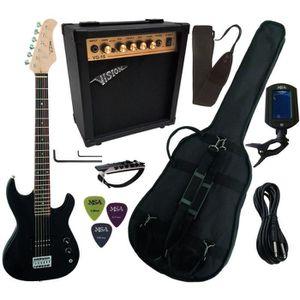 PACK INSTRUMENTS CORDES Pack Guitare Electrique 3-4 Noire Pour Enfant avec