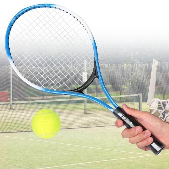Raquette de tennis pour enfants en alliage de fer - Raquette d'entraînement pour débutants avec balle et sac de transport (bleu)-COL