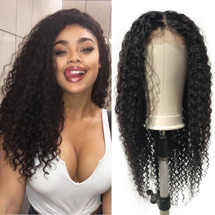 16- Tissage Bresilien Kinky Curly Meche Perruques Cheveux Humains 4*4 Remy perruques de cheveux humains pour les femmes noires