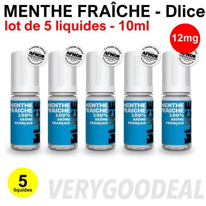 Eliquid MENTHE FRAÎCHE 12mg lot de 5 liquides DLICE