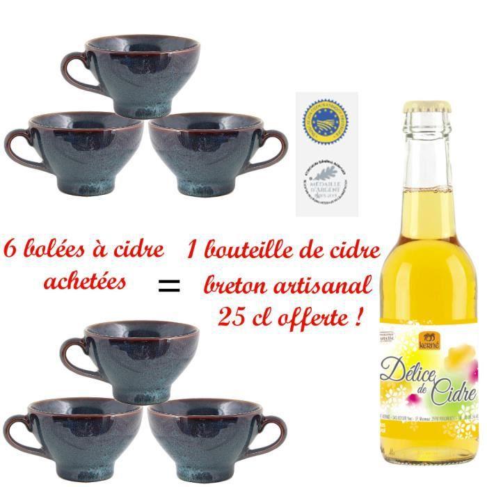 Lot de 6 bolées bleues mouchetées + 1 bouteille cidre breton artisanal offerte