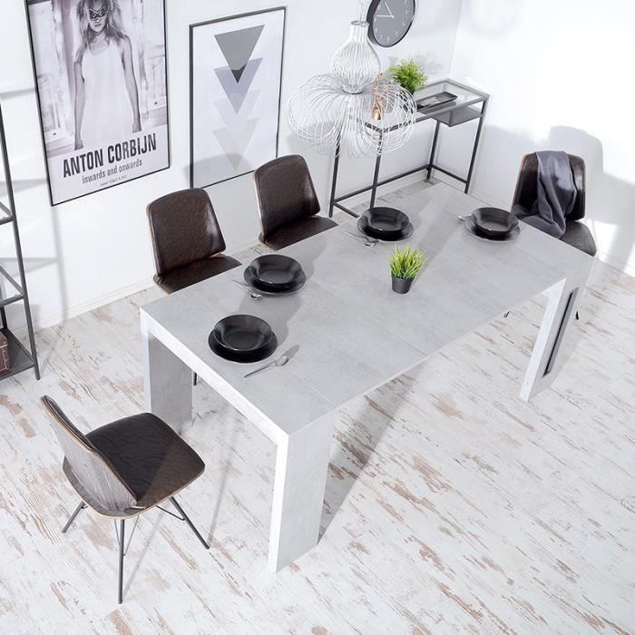 Table extensible / Table salle à manger - ROMA - 90 cm - effet béton - style industriel - avec 3 rallonges