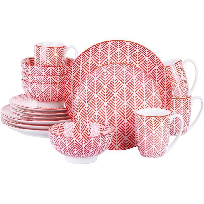 vancasso, série MOMOKO, Service de Table Complet en Porcelaine, Assiette Bols 16 pièces , Style Japonais ROUGE