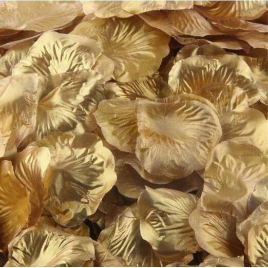 1000 pétales de rose en soie confettis fleurs anniversaire mariage célébration décoration (couleur dorée)