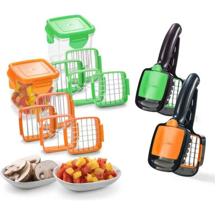 Genius Nicer Dicer Quick Set coupe-légumes coupe-légumes et coupe-fruits Coupe à viande coupe-oignons coupe-oignons coupe-œufs