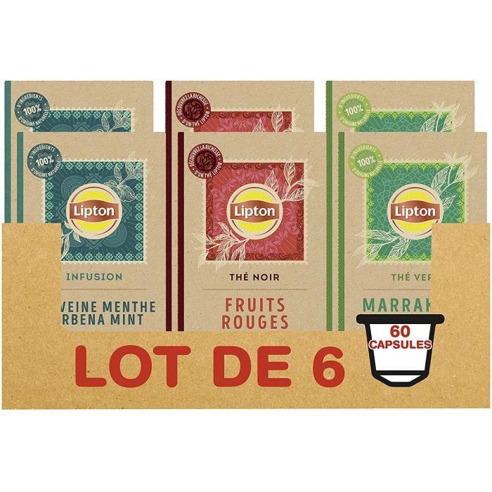 LIPTON 60 Capsules Nespresso, 3 saveurs, Thé Vert Marrakech Mint, Infusion Verveine Menthe, Thé Noir Fruits Rouges