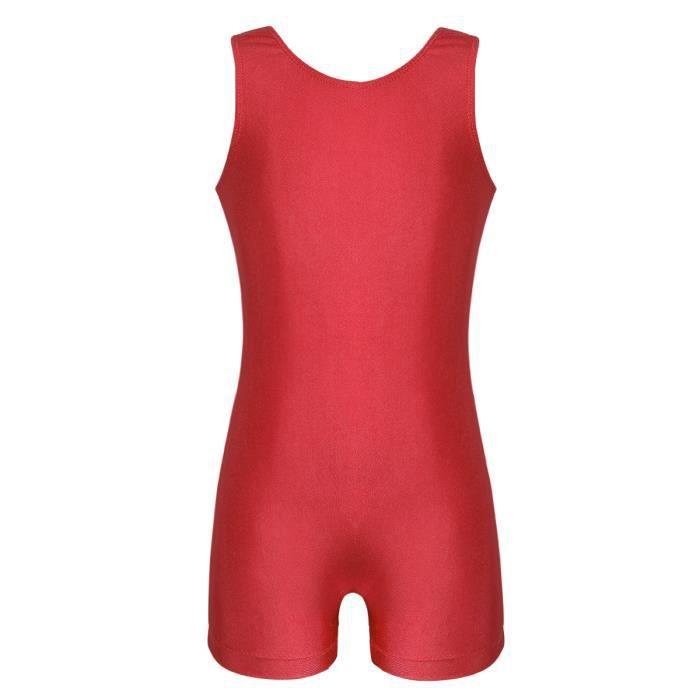 Justaucorps Gymnastique Fille sans Manche Leotard Sport Yoga Fitness Bodysuit 4-12 Ans Rouge