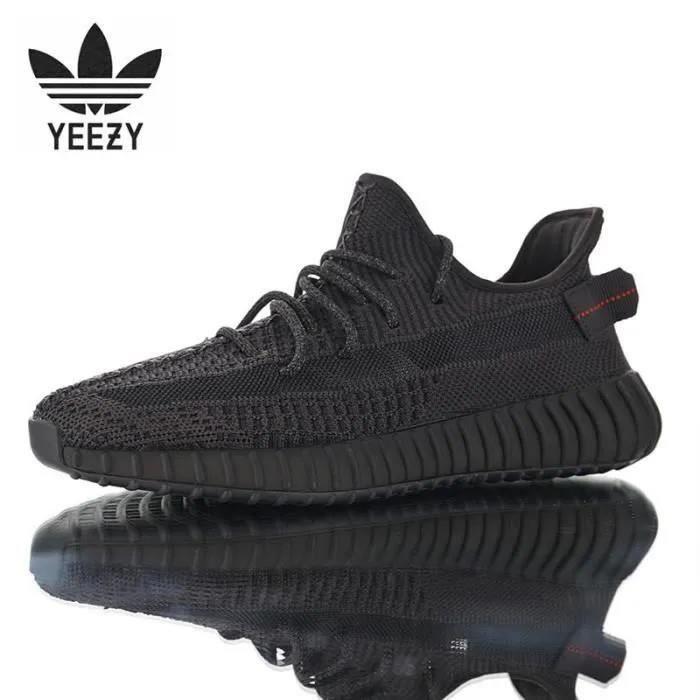 Basket Adidass Originalss Yeezys 350 V2 'BLACK REFLECTIVE' FU9007 Chaussures de Running Homme Femme Noir