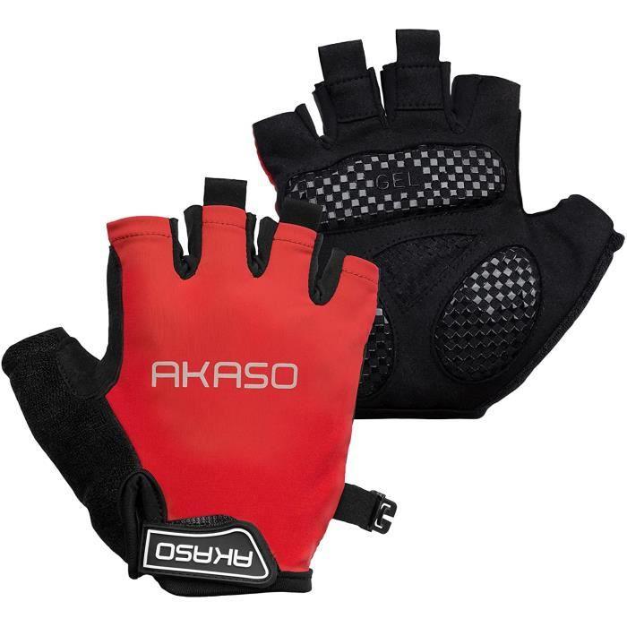 AKASO Gants de cyclisme gants de vélo absorbant les chocs anti-dérapant respirant vtt DH pour hommes / femmes Noir