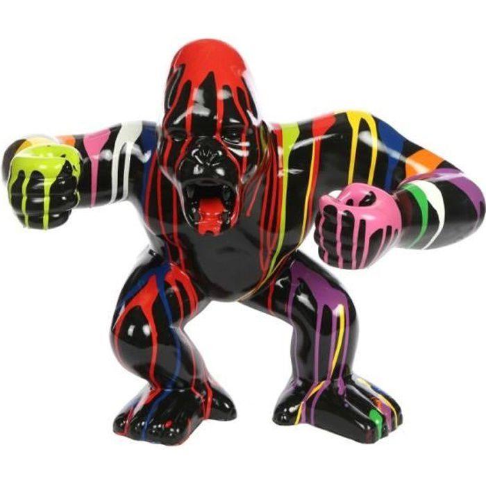 Statue en résine Donkey Kong gorille singe debout multicolore fond noir 57 cm : H, 45 x L, 57 x l, 27 Multicolore