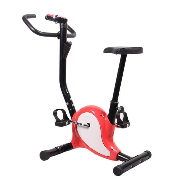 Vélo d´Appartement Vélo Cardio LCD Réglable Indoor Gym Fitness Intérieur - 100kg Charge - Rouge