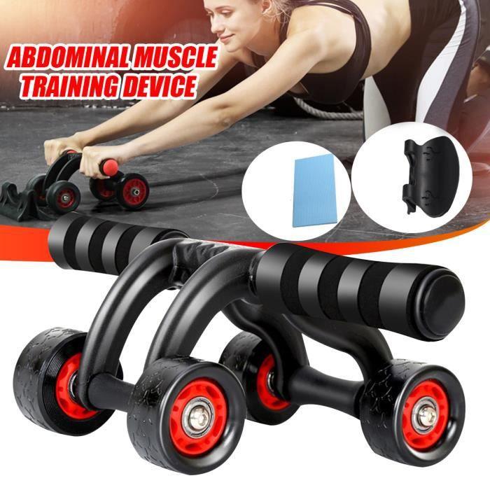 TEMPSA Roue Abdominale Muscles Appareil d'entraînement 4 Roues avec tapis