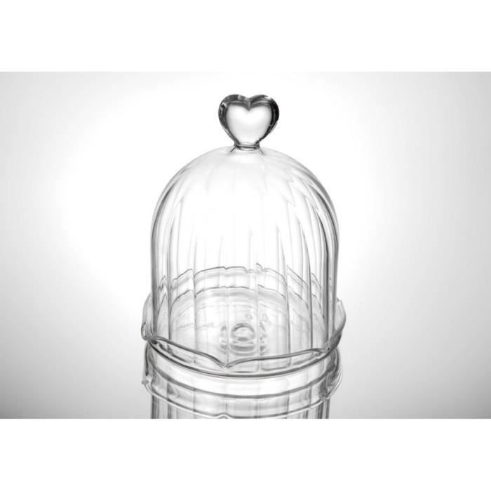 cloche en verre coeur achat vente cloche verre cdiscount. Black Bedroom Furniture Sets. Home Design Ideas