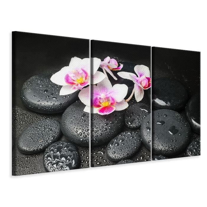 tableau sur toile en 3 parties orchid e feng shui zen 60 x 40 cm 3 x 20 x 40 cm achat. Black Bedroom Furniture Sets. Home Design Ideas