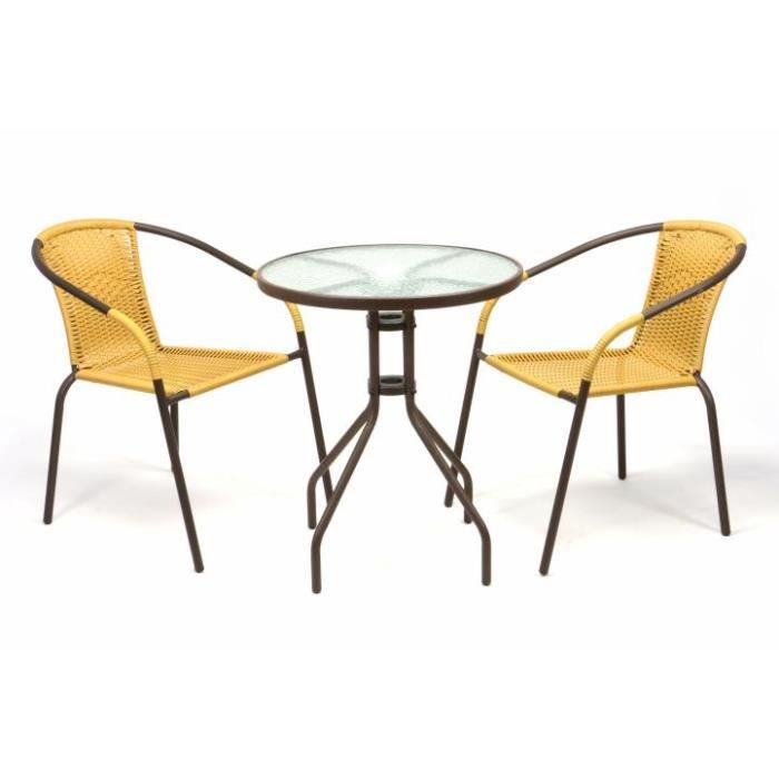 2 Chaises Bistrot Empilable Beige Table Ronde Verre