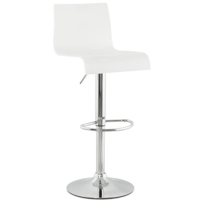 tabouret de cuisine 39 jose 39 plexiglas blanc r glable ajustable haut dossier achat vente. Black Bedroom Furniture Sets. Home Design Ideas