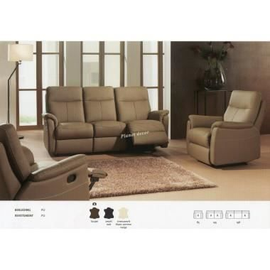 Salon 3 2 1 cuir relax modele lucas taupe achat vente salon complet cuir cdiscount - Canape cuir taupe ...
