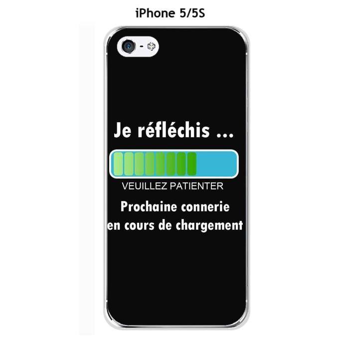 Coque Apple iphone 5 - 5S - 5SE design Message Je réfléchis, Texte ...