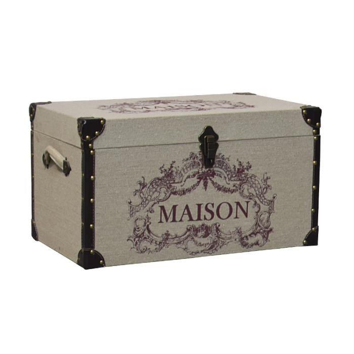 COFFRE - MALLE Malle Coffre de Rangement en Bois et Tissu Jute 59