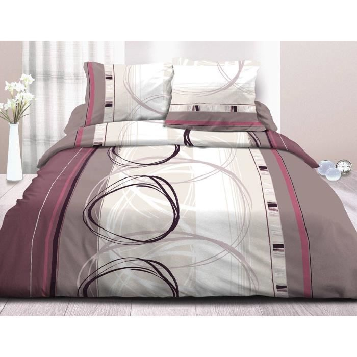 parure drap plat drap housse 140x190 2 taies pur coton 57 fils roue libre lilas achat. Black Bedroom Furniture Sets. Home Design Ideas
