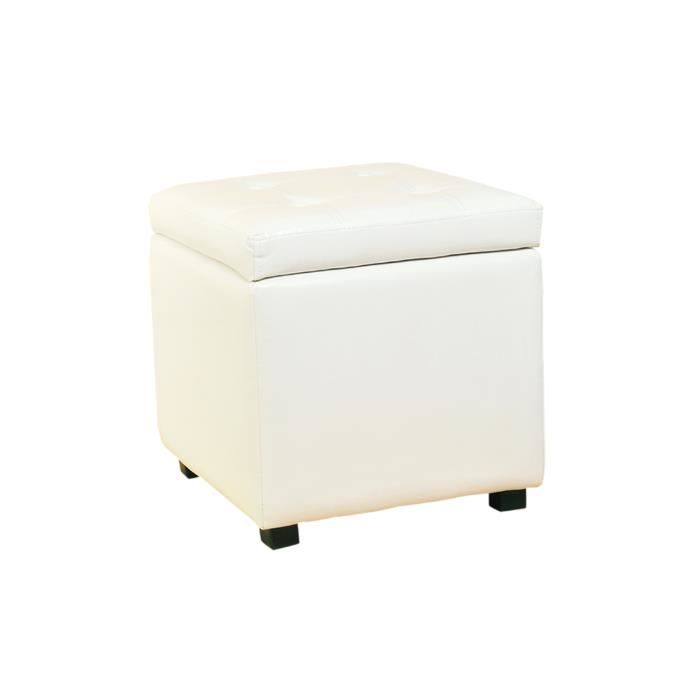pouf cube cube coffre de rangement blanc achat vente pouf poire simili m tal soldes. Black Bedroom Furniture Sets. Home Design Ideas